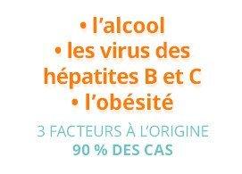 3 facteurs à l'origine (90% des cas) : l'alcool, les virus des hépatites B et C, l'obésité