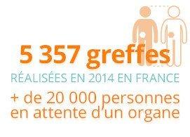 5357 greffes réalisées en 2014 en France, plus de 20000 personnes en attente d'un organe