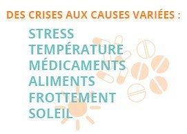 Des crises aux causes variées : stress, température, médicaments, aliments, frottement, soleil