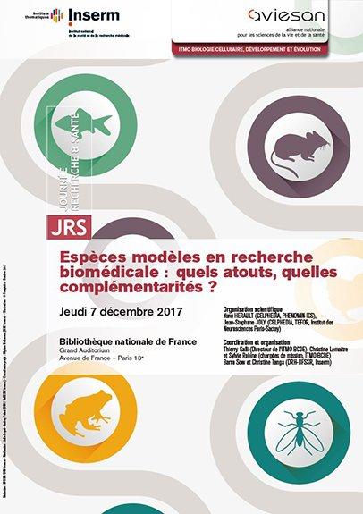 Affiche de la journée recherche et santé : Espèces modèles en recherche biomédicale : quels atouts, quelles complémentarités ?