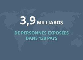 3,9 milliards de personnes exposées dans 128 pays