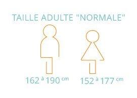 """Taille adulte """"normale"""": de 162 cm à190 cm pour un homme, de 152 cm à 177 cm pour une femme"""
