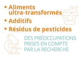 aliments ultra-transformés, additifs, résidus de pesticides : des préoccupations prises en compte par la recherche