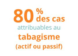 80 % des cas attribuables au tabagisme (actif ou passif)