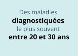 Des maladies diagnostiquées le plus souvent entre 20 et 30 ans
