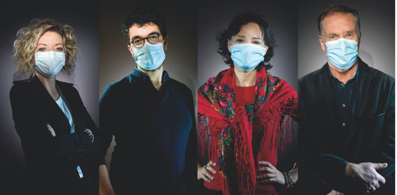 Parmi les chercheurs de l'iPLESP, de gauche à droite : Vittoria Colizza, David Hajage, Maria Melchior et Fabrice Carrat © Inserm/François Guénet
