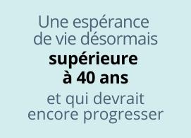 Une espérance de vie supérieure à 40 ans et qui devrait encore progresser