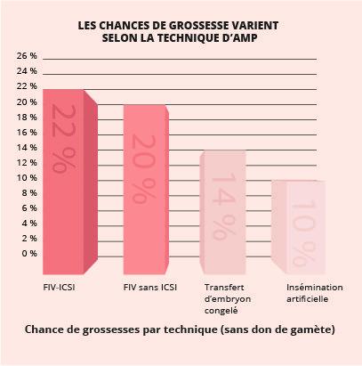 Les chances de grossesse varient selon la technique d'AMP : FIV-ICSI : 22 % FIV sans ICSI : 20%  Transfert d'embryon congelé : 14%  Insémination artificielle : 10%