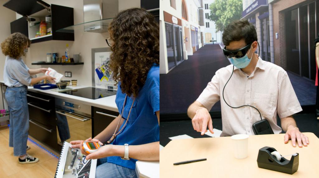 Homelab (à gauche) et Streetlab (à droite), deux des plateformes de tests de mise en situation réelle pour les patients ©Inserm/François Guénet