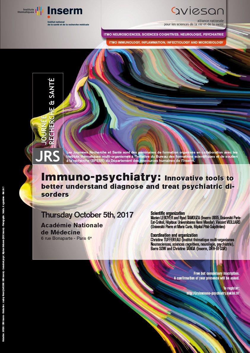 Affiche de la journée recherche et santé 2017 : Immuno-psychiatrie, des outils innovants pour mieux comprendre, diagnostiquer et traiter les troubles psychiatriques