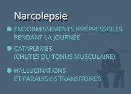 Narcolepsie  Endormissements irrépressibles pendant la journée  Cataplexies (chutes du tonus musculaire)  Hallucinations et paralysies transitoires