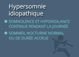 Hypersomnie idiopathique  Somnolence et hypovigilance continue pendant la journée  Sommeil nocturne normal ou de durée accrue