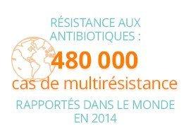 Résistance aux antibiotiques: 480000 cas de multirésistance rapportés dans le monde en 2014